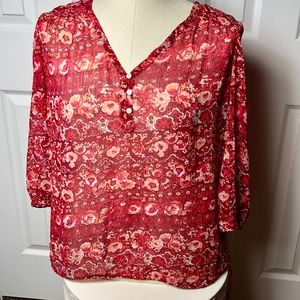 Lucky Brand Red Sheer Top Size Large